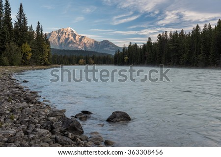 Scenery of high mountain with Pyramid Mountain and Athabasca river, Jasper National Park, Canada