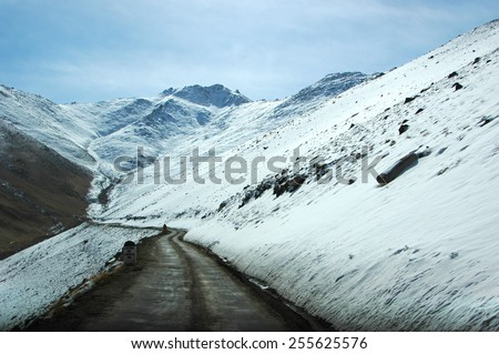 Scenery of Jammu and Kashmir state in the Himalayan kingdom of Ladakh - stock photo