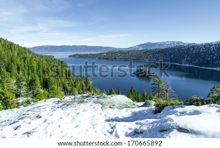 scenery of lake tahoe in the winter - stock photo