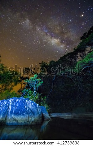 Scenery of milkyway at the middle of the night over the Rain Forest. ( Visible noise due to high ISO, soft focus, shallow DOF, slight motion blur due to long exposure shot)