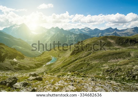 scenery of nature with mountains - stock photo