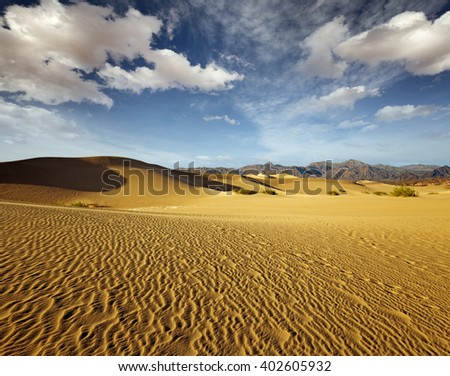 scenery of sand dunes in Death Valley National Park - stock photo