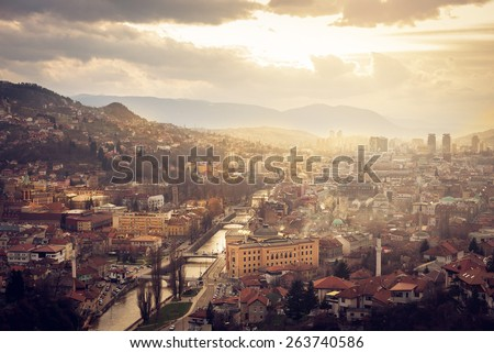 Scenery of Sarajevo city from above - stock photo