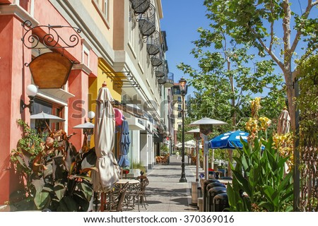 Scenery of the shopping street in West Palm Beach, Florida - stock photo