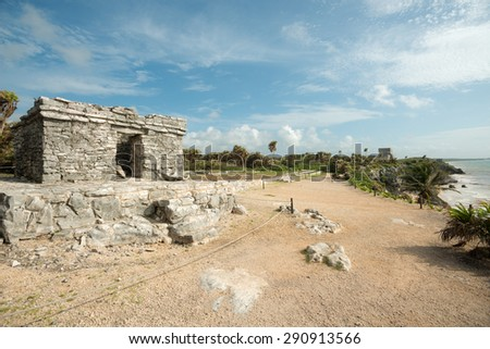 Scenery of the Tulum Ruins in  Mexico