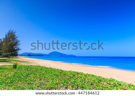 Scenery on Mai Khao beach in Phuket Thailand - stock photo