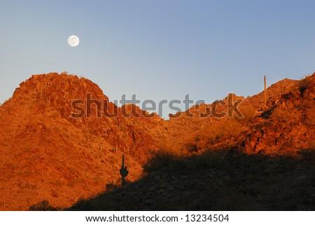 Scenery surrounding Phoenix at sunset, Arizona, United States. - stock photo