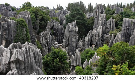 Scenery view at Shilin Stone Forest of Kunming, Yunnan, China.