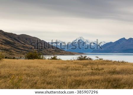 Scenery with Mount Cook and Pukaki Lake, Aoraki, Mount Cook Mackenzie Region, New Zealand - stock photo