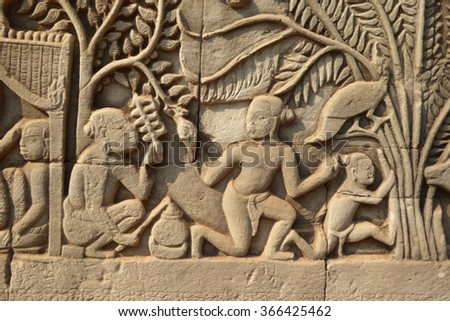 Scenes from daily life,  bas relief sculpture in Bayon, Angkor Thom,  Cambodia