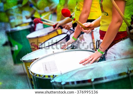 Scenes of Samba carnival with drum group - stock photo