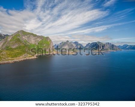 Scenic aerial panorama of Lofoten islands in Norway - stock photo