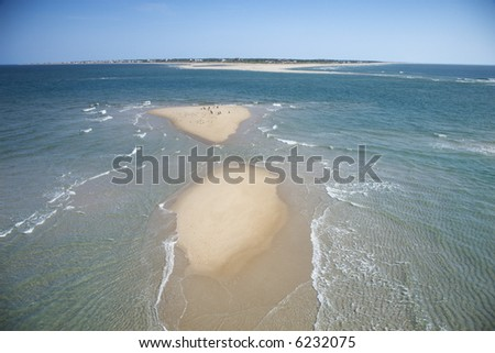 Scenic aerial seascape of beach and island at Baldhead Island, North Carolina. - stock photo