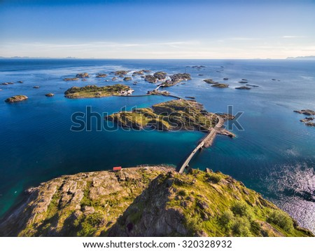 Scenic aerial view of fishing town Henningsvaer on Lofoten islands, popular tourist destination in Norway - stock photo