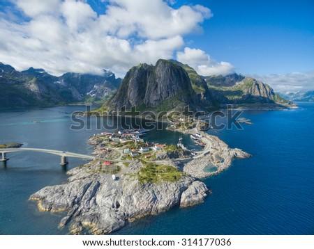 Scenic aerial view of fishing village Hamnoya on Lofoten islands in Norway - stock photo