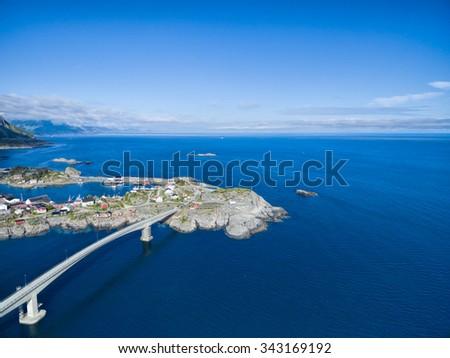 Scenic aerial view of Lofoten islands coastline in Norway - stock photo