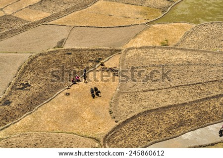 Scenic aerial view of ploughing fields in Nepal - stock photo