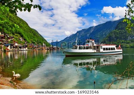 scenic Alpine lakes - Hallstatt,Austria - stock photo