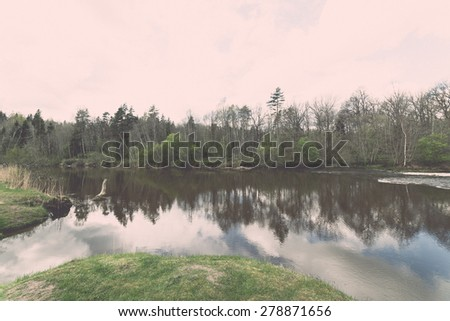 scenic and beautiful reflections of trees and clouds in water of the river - retro vintage grainy film look