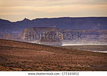 Scenic Arizona Rocky Formation and Lake Powell. Near City of Page, Arizona, United States. - stock photo