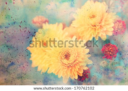 scenic artwork with aster flowers and colorful watercolor splashes - stock photo