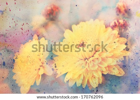 scenic artwork with yellow aster flowers and watercolor - stock photo