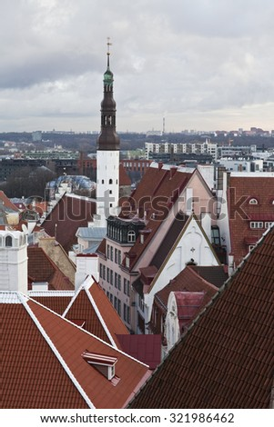 Scenic autumn aerial panorama of Tallinn, Estonia - stock photo