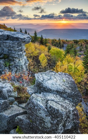 Scenic autumn sunrise, Bear Rocks, West Virginia - stock photo