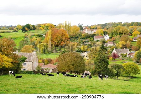 Scenic Autumn View of a Green Field in the English Countryside - stock photo
