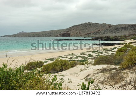 Scenic beach view at Galapagos island coast in Ecuador.