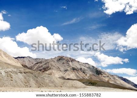Scenic beauty of Ladakh, mountains of ultra mafic rocks  - stock photo
