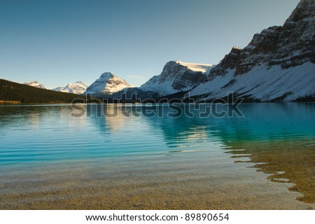 Scenic Bow Lake in Banff National Park Alberta Canada - stock photo