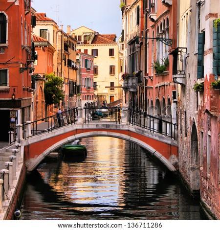 Scenic canal with bridge, Venice, Italy - stock photo