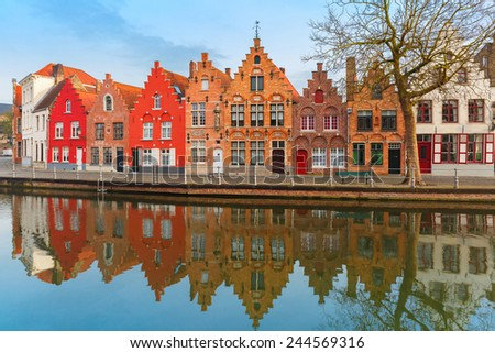 Scenic city view of Bruges canal with beautiful medieval houses, Belgium - stock photo