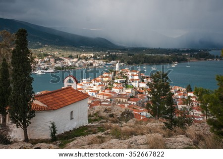 Scenic cityscape at island  of Poros, Greece