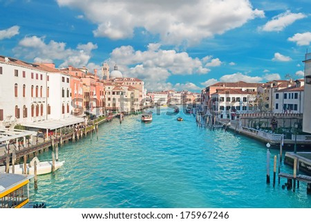scenic clouds over Venice Grand Canal - stock photo