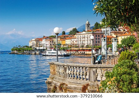 Scenic Como lake and Bellagio town in summer, Italy. - stock photo