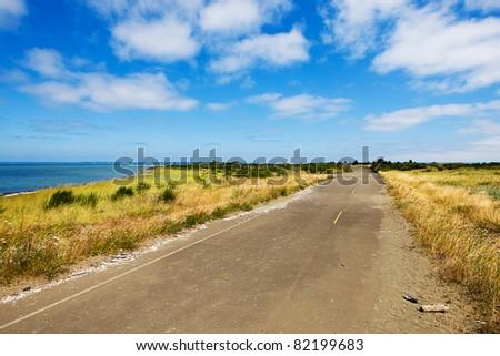 scenic country road - stock photo