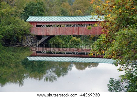 Scenic Covered Bridge in Vermont - stock photo