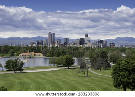 Scenic Denver, the Mile High City, with City Park in the foreground, on a clear spring day. - stock photo