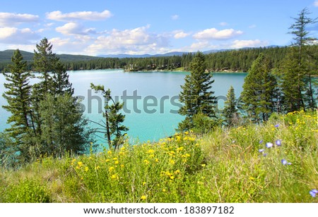 Scenic Dickey lake in Montana near Glacier national park - stock photo