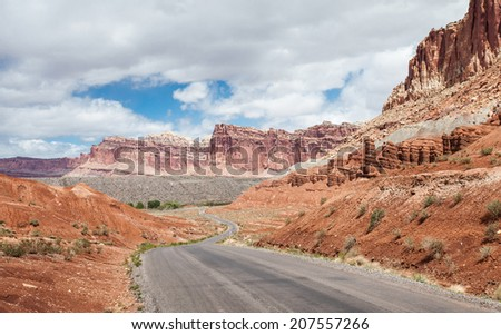 Scenic drive in Capitol Reef National Park - stock photo