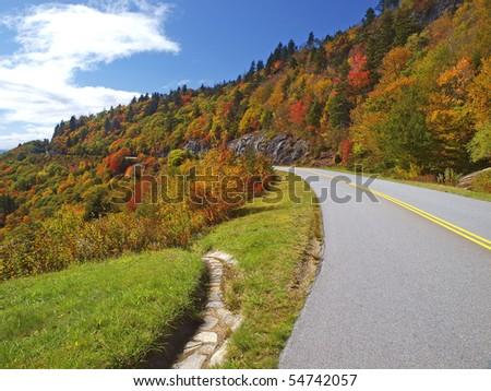 scenic drive on Blue Ridge Parkway - stock photo