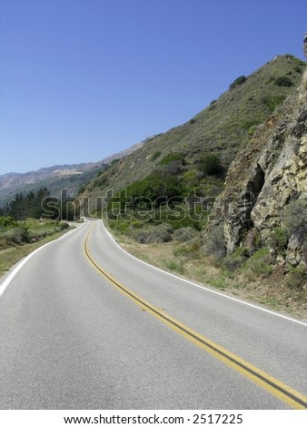 Scenic drive on highway 1 along the California coastline. - stock photo