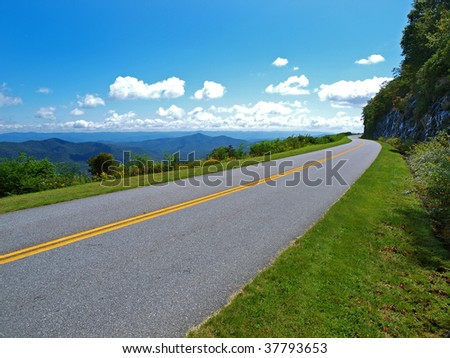scenic drive on the blue ridge parkway - stock photo
