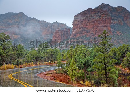 Scenic drive through Red Rocks in Sedona, Arizona in rainy weather