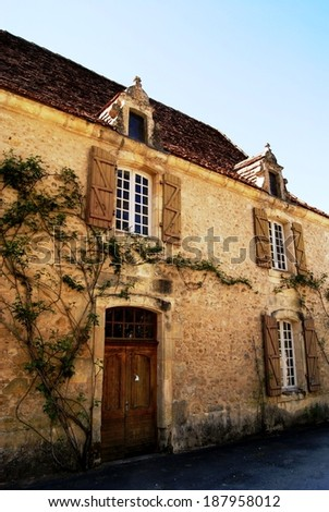 Scenic Entrance to a Medieval mansion in the Dordogne area, Southern France - stock photo