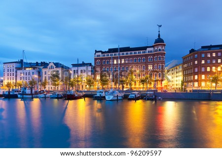 Scenic evening panorama of the Old Town pier in Helsinki, Finland - stock photo