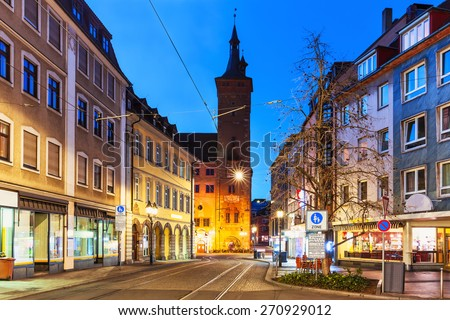 Scenic evening view of street architecture in the Old Town of Wurzburg, Bavaria, Germany - stock photo