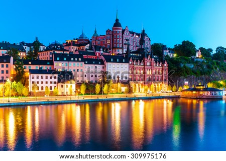 Scenic evening view of the Old Town pier architecture in Sodermalm district of Stockholm, Sweden - stock photo